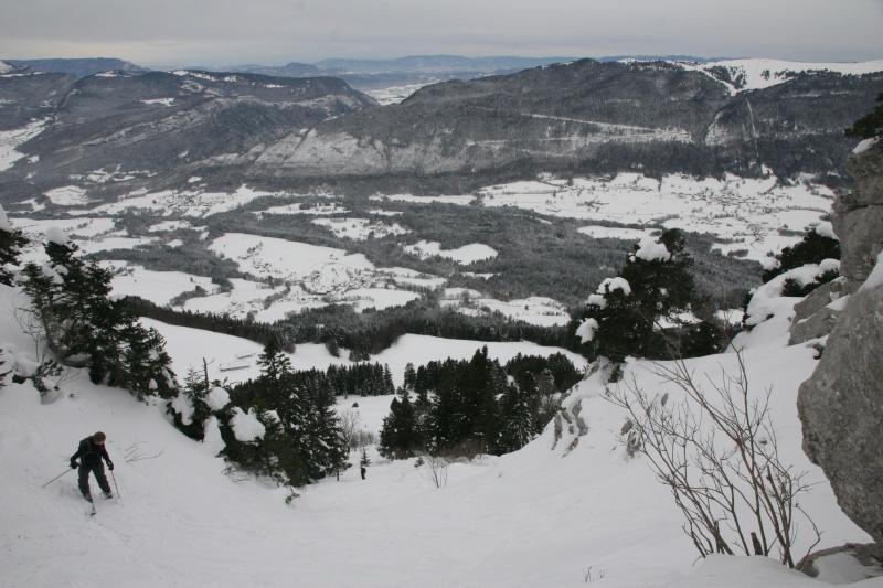 la descente sous les contreforts du Roc des Boeufs